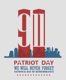 Affisch för patriotdagvektor med tvillingbröder September 11 9 / 11 med tvillingbröder Royaltyfri Bild