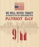 Affisch för patriotdagvektor Vi ska glömma aldrig September 11 9 / 11 med tvillingbröder Arkivbild