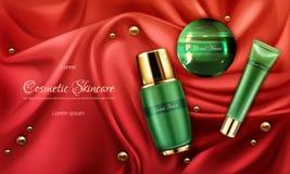 Affisch för promo för vektor för Skincare skönhetsmedel realistisk stock illustrationer