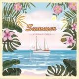 Affisch för sikt för tappningsjösidasommar Seascape skepp, blommar Vektorbakgrund, illustrationer royaltyfri illustrationer
