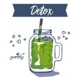 Affisch för smoothie- eller Detoxcoctaildag i klotterstil grön smoothie utdragna ingredienser för hand för smoothie eller detoxdr vektor illustrationer