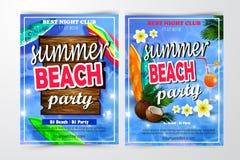 Affisch för sommar och strandpartibakgrund Royaltyfria Bilder