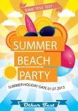 Affisch för sommarstrandparti Royaltyfria Bilder