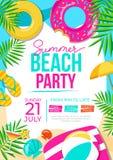 Affisch för sommarstrandparti Färgrik inbjudan för sommarparti Detta är sparar av EPS10 formaterar stock illustrationer
