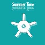 Affisch för sommartid med hjulet Arkivfoto