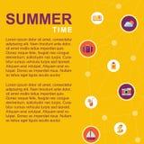 Affisch för sommartid med sommarbeståndsdelar royaltyfri illustrationer