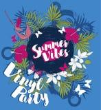 Affisch för sommarvinylparti Royaltyfri Foto