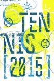 Affisch för stil för tennistappninggrunge Retro vektorillustration med tennisbollar Royaltyfria Foton