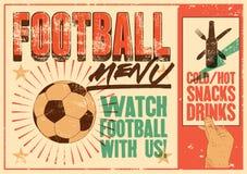 Affisch för stil för grunge för tappning för fotbollmeny typografisk retro vektor för illustration stock illustrationer
