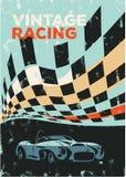 Affisch för tävlings- bil för tappning stock illustrationer