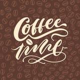 Affisch för typografi för bokstäver för hand för tappning för kaffetid 3 Arkivbild