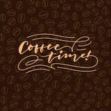 Affisch för typografi för bokstäver för hand för tappning för kaffetid 1 Arkivbilder