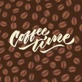 Affisch för typografi för bokstäver för hand för tappning för kaffetid 4 Royaltyfria Foton