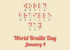 Affisch för världsblindskriftdagen (Januari 4) stock illustrationer