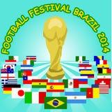 Affisch för världscupBrasilien 2014 deltagare Arkivfoton