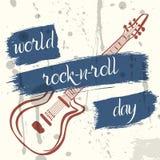 Affisch för världsVagga-n-rulle dag i grungestil Royaltyfri Foto