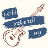 Affisch för världsVagga-n-rulle dag i grungestil Royaltyfri Bild