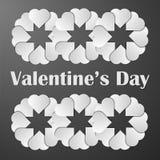 Affisch för valentindagillustration Vitbokhjärtor med shaden Arkivfoton