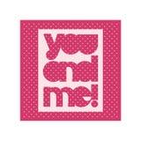 Affisch för valentindagtypografi med gullig text dig och mig för banerdesign, hälsningkort, bröllopinbjudan Rosa färg färgar Royaltyfri Foto