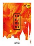 Affisch för vektor för lutning för stad för TysklandDortmund horisont royaltyfri illustrationer