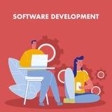Affisch för vektor för programvaruutveckling plan med text vektor illustrationer
