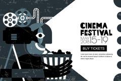 Affisch för vektorbiofestival, reklambladbakgrund Sale etiketterar banerbakgrund Filmtid och underhållningbegrepp stock illustrationer