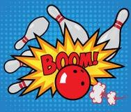 Affisch för vektorgammal-stil bowling i pop-konst stil Arkivfoton