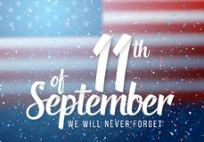 Affisch för vektorpatriotdag Pappers- märka September 11th på realistisk amerikanska flagganbakgrund med konfettier Arkivfoto