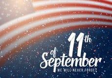 Affisch för vektorpatriotdag Pappers- märka September 11th på realistisk amerikanska flagganbakgrund med konfettier Royaltyfri Fotografi
