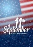 Affisch för vektorpatriotdag Pappers- märka September 11th på realistisk amerikanska flagganbakgrund med konfettier Arkivbilder