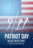 Affisch för vektorpatriotdag September 11th nationell tragediaffisch på USA flaggan Fotografering för Bildbyråer