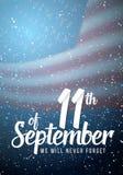 Affisch för vektorpatriotdag September 11th pappers- bokstäver på suddig USA flaggabakgrund med konfettier Arkivfoton