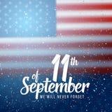 Affisch för vektorpatriotdag September 11th pappers- bokstäver 2001 på suddig USA flaggabakgrund med konfettier Royaltyfria Bilder