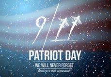 Affisch för vektorpatriotdag September 11th 2001 tragediaffisch Arkivbilder