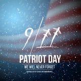 Affisch för vektorpatriotdag September 11th tragediaffisch på amerikanska flagganbakgrund Fotografering för Bildbyråer