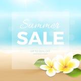 Affisch för vektorsommarförsäljning med stranden, havet, vågor och tropiska blommor stock illustrationer