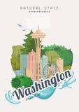 Affisch för Washington vektoramerikan USA loppillustration Färgrikt hälsningkort för Amerikas förenta stater Naturligt tillstånd stock illustrationer