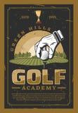 Affisch för yrkesmässig sport för golf retro vektor illustrationer
