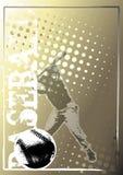 affisch för baseball för 4 bakgrund guld- Arkivbilder