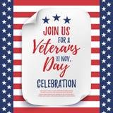 Affisch för inbjudan för beröm för parti för veterandag Arkivfoto