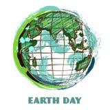 Affisch för jorddag med jordjordklotet Hand dragen grungestilkonst Färgrik retro vektorillustration Royaltyfri Foto