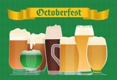 Affisch för Oktoberfest ölberöm Bakgrund för vektor för ölOktoberfest tysk festival Royaltyfri Fotografi