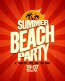 Affisch för sommarstrandparti Arkivbild
