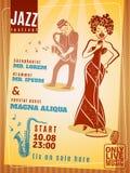 Affisch för tappning för jazzmusikfestival Royaltyfri Foto