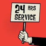 Affisch i handen, affärsidé med text 24 timmar service Arkivbild