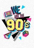 Affisch i stil för 80s-90s memphis Royaltyfri Fotografi
