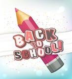 Affisch med att märka tillbaka till skolan Realistisk blyertspenna, färgrika bokstäver Royaltyfri Foto