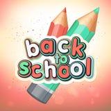 Affisch med att märka tillbaka till skolan Realistiska blyertspennor, färgrika bokstäver Fotografering för Bildbyråer