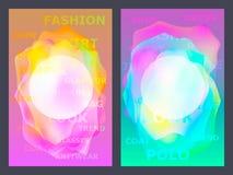 Affisch med den geometriska modellen för neonlägenhet Holographic färgrika grafiska bakgrunder Retro baner, reklamblad, broschyr, Arkivbilder