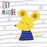 Affisch med den gulliga musen för tecknad film och den roliga sloganhej musen stock illustrationer
